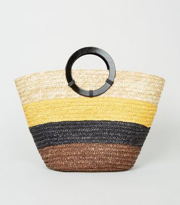 Brown Straw Stripe Woven Ring Handle Tote Bag