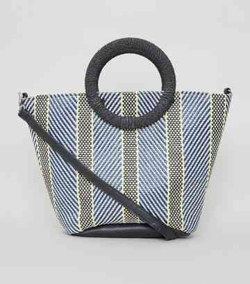 Blue Woven Stripe Ring Handle Tote Bag