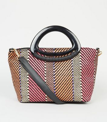 Pink Stripe Resin Handle Tote Bag