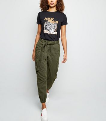 Khaki Denim Cargo Trousers