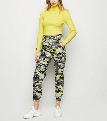 Yellow Neon Camo Print Cuffed Utility Trousers