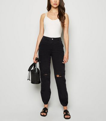 Black Ripped Denim Utility Trousers