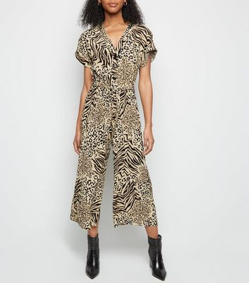 Brown Mixed Animal Print Cropped Jumpsuit