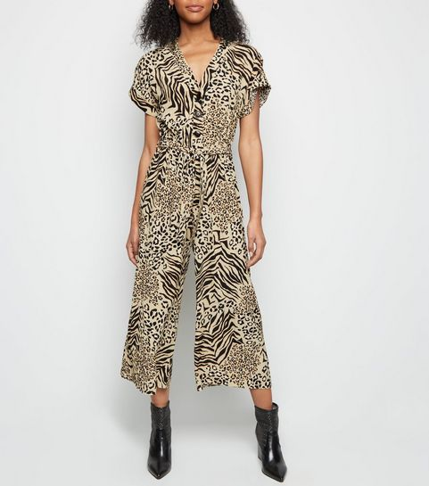 ba8c5b23a13 ... Brown Mixed Animal Print Cropped Jumpsuit ...