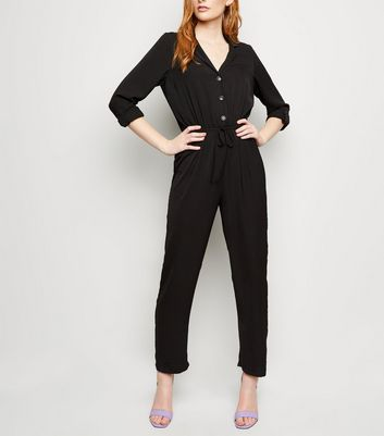 Black Herringbone Drawstring Waist Jumpsuit