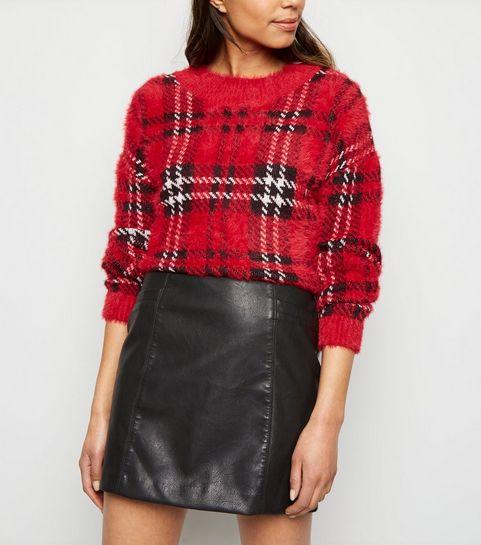 b3e8967e221 ... Black Leather-Look Mini Skirt ...