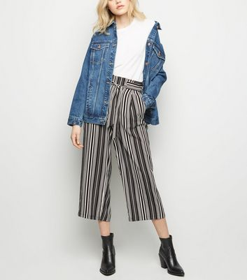 Black Stripe Tie Waist Cropped Trousers