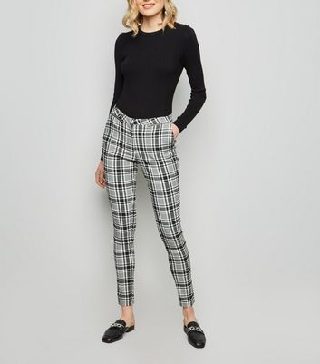 Black Check Stretch Slim Leg Trousers