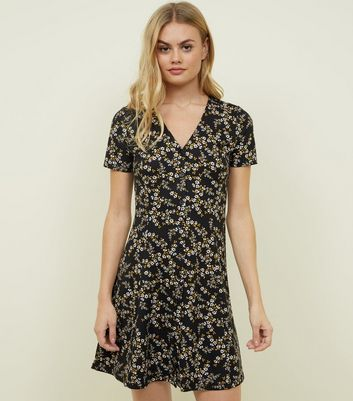 Black Floral Soft Touch Button Front Dress