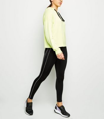 Black Double Piped Side Sports Leggings
