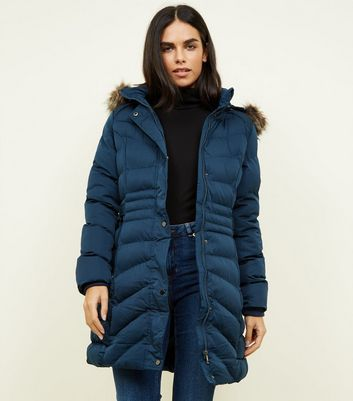 QED Navy Quilted Puffer Waist Jacket