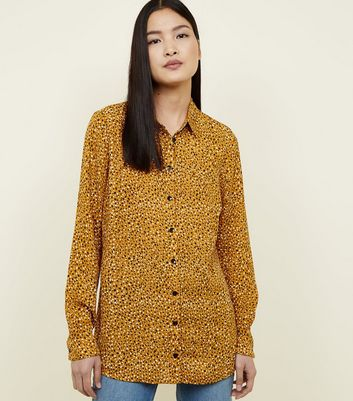 Mustard Abstract Spot Print Shirt