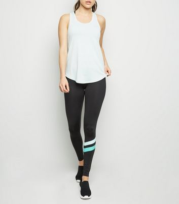 Mint Green Stripe Sports Leggings