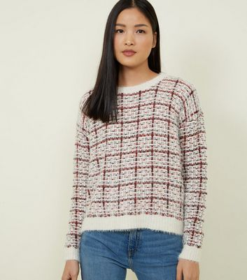 QED Off White Check Fluffy Jumper