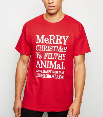 Red Merry Christmas Ya Filthy Animal T-Shirt