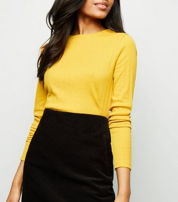 Petite Yellow Ribbed Long Sleeve Top