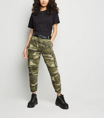 petite khaki camo cuffed utility trousers new look