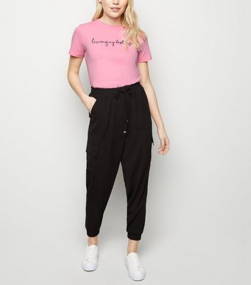 Petite Black Utility Cuffed Joggers by New Look