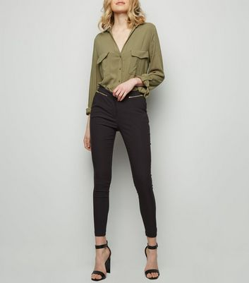 Black Zip Slim Leg Trousers