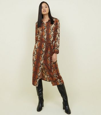 Brown Snake Print Midi Shirt Dress