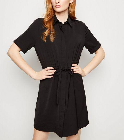 169fa9e9b ... Black Twill Drawstring Waist Shirt Dress ...