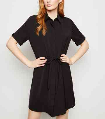 Black Twill Drawstring Waist Shirt Dress