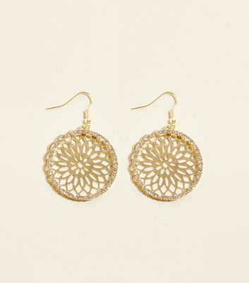 Gold Layered Diamanté Filigree Disc Earrings