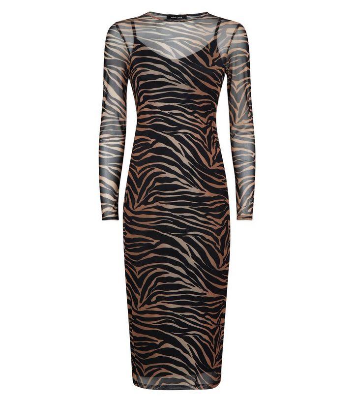 9bd785c19a ... Black Tiger Print Mesh Midi Dress. ×. ×. ×. Shop the look