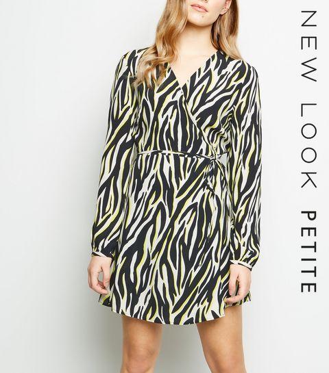 221bd2ecf86c ... Petite Black Neon Zebra Print Wrap Mini Dress ...
