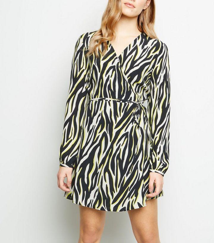Petite Black Neon Zebra Print Wrap Mini Dress  fa0dc1370