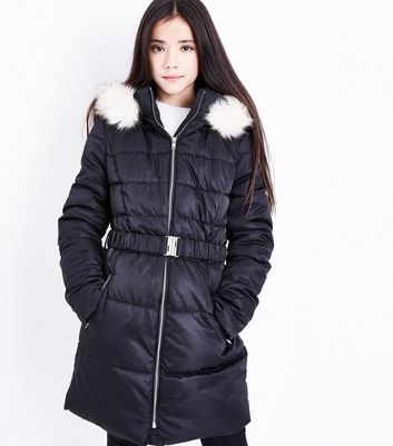 Girls Black Longline Belted Puffer Jacket