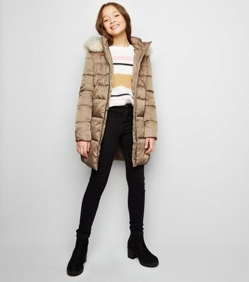 Girls Stone Longline Belted Puffer Jacket