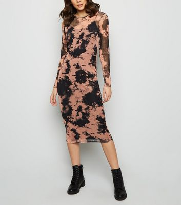 Black Tie Dye Mesh Midi Dress