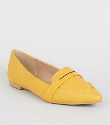 Mustard Leather-Look Pointed Penny Loafers