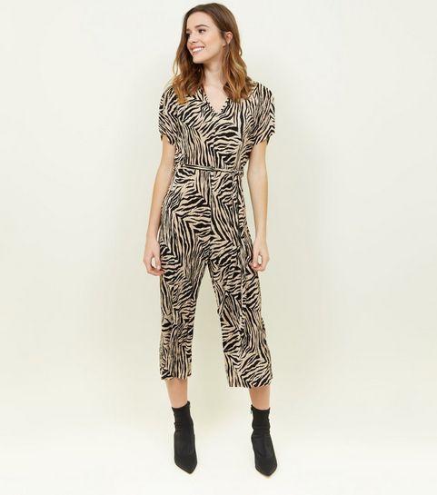 9ea7a810a641 ... Black Plissé Zebra Print Jumpsuit ...