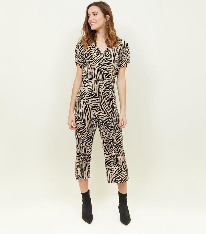 f72a676d6ed Black Plissé Zebra Print Jumpsuit