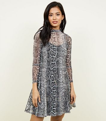 Light Grey Snake Print Mesh Swing Dress