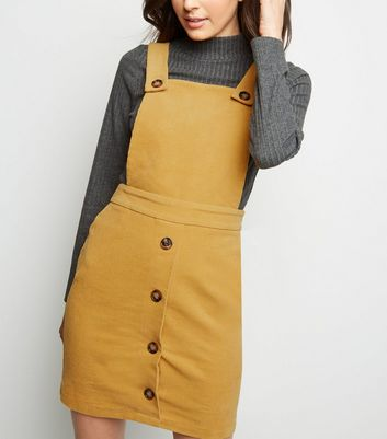 Mustard Corduroy Faux Horn Button Pinafore Dress