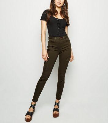 shop for Khaki Utility Pocket Skinny Jenna Jeans New Look at Shopo