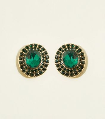 Green Premium Gemstone Stud Earrings