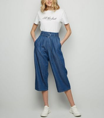 Blue Dark Wash D-Ring Buckle Denim Culottes
