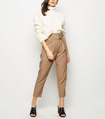 Camel D-Ring Belt High Waist Trousers