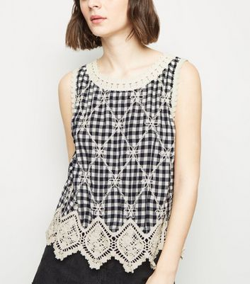 Black Check Crochet Lattice Back Top