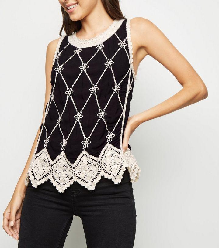 Black Lattice Back Crochet Top New Look