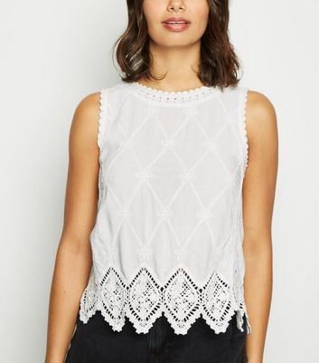 White Lattice Back Crochet Top
