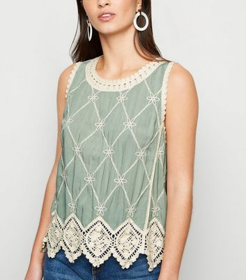 Light Green Lattice Back Crochet Top