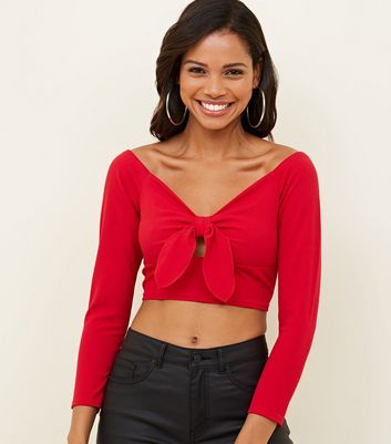 Red Bow Front Bardot Crop Top