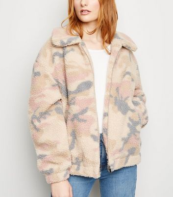 Off White Pastel Camo Teddy Bomber Jacket