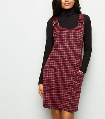 Petite Pink Houndstooth Pinafore Dress