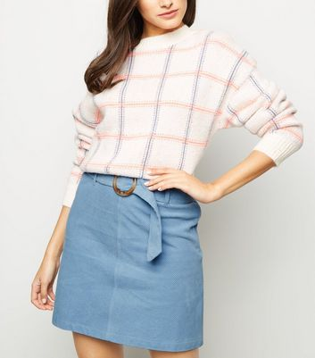 Pale Blue Ring Belt Corduroy Mini Skirt
